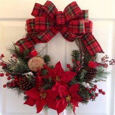 New Artificial Christmas Wreath Stylish Christmas Decor Wreath Hanging Wreath for Door Window Decor Outdoor Christmas Tree Decorations, Artificial Christmas Wreaths, Christmas Wreaths To Make, Diy Christmas Ornaments, Holiday Wreaths, Holiday Decor, Christmas Trees, Christmas Poinsettia, Burlap Christmas
