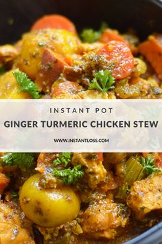 Instant Pot Ginger Turmeric Chicken Stew - Instant Loss - Conveniently Cook Your Way To Weight Loss Pressure Cooker Recipes, Pressure Cooking, Instant Pot, Healthy Nutrition, Healthy Eating, Turmeric, Stew, Tacos, Weight Loss