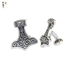 Silver Thor's Hammer Cufflinks - Silver Plated White Bronze Mjolnir Viking Cuff Links - Groom fashion accessories (*Amazon Partner-Link)