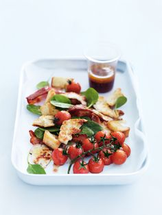 roasted haloumi, sourdough, bacon and tomato salad alternative dressing; 1/2 cup chopped parsley, 1 tbsp lemon juice, 1/2 cup chopped mint, ttbsp olive oil