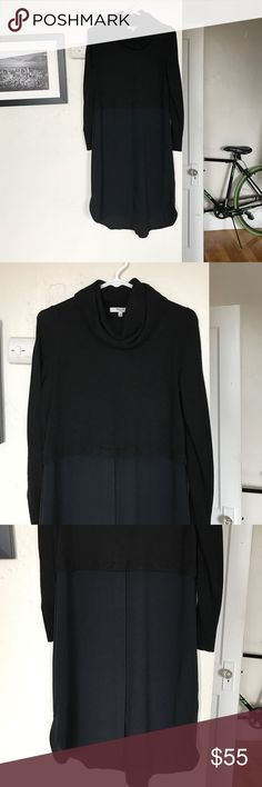 Madewell dress Turtle neck dress, sweater wool material on the top and polyester on the bottom. Bottom half has buttons. Worn only once and still in perfect condition. Runs true to size and length goes over the knee Madewell Dresses