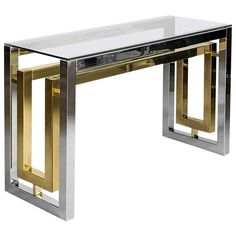 Pair of Chrome and Brass Plated Steel Console Tables with Clear Glass Tops | From a unique collection of antique and modern console tables at http://www.1stdibs.com/furniture/tables/console-tables/