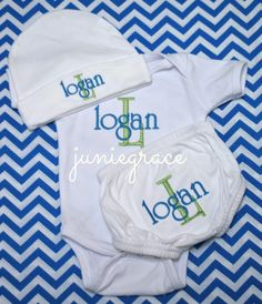 Personalized Baby Boy Long Or Short Sleeve Bodysuit Diaper Cover and Matching Hat  Layette Coming Home Set Newborn -12 Months