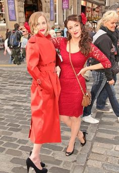 """Ruby Darlings"" Gorgeous red rubberised trench-coat in Edinburgh Festival 2013. Taken from ""Lorraine's Rainwear Club"" on the Lakeland Elements web-site."