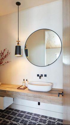 Bathroom Mirror Design, Bathroom Interior Design, Bathroom Lighting, Ikea Bathroom Vanity, Bathroom Mirror Lights, Kitchen Lighting, Bathroom Inspiration, Interior Inspiration, Simple Bathroom