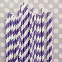 Purple Striped Paper Straws.
