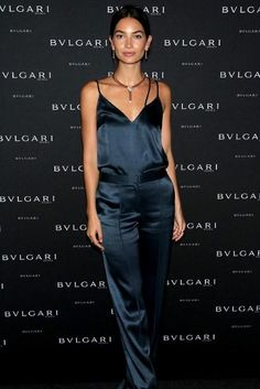 Lily Aldridge wearing Bvlgari B.Zero1 Four Band Ring in 18 Kt Pink White and…