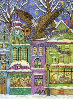 Просмотреть иллюстрацию Волшебное зимнее путешествие маленького белого кота из сообщества русскоязычных художников автора Yovin в стилях: 2D, Графика, Детский, нарисованная техниками: Графика, Смешанная техника, Тушь.