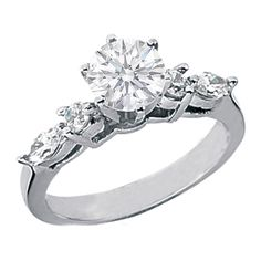 Diamond Engagement Ring with Marquise & Round Diamonds side stones  - ES496