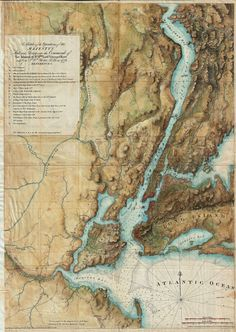 An 1864 reissue of Joseph Des Barres' famous map of New York which he rendered in exquisite topographical detail to help illustrate British troop movements during the American Revolutionary War. New York City Map, City Maps, Vintage Maps, Antique Maps, Antique Prints, Map Globe, Poster Prints, Art Prints, Print Map