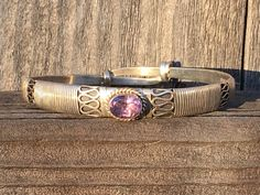 Bohemian Sterling Silver Bangle Bracelet with Amethyst - Yourgreatfinds, Vintage Jewelry - 1