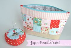 Pieced Zipper Pouch Tutorial + Free Sewing Pattern, DIY, patchwork zipper bag, make-up bag, travel bag, easy sewing projects