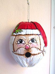 Christmas Santa Claus Hand Painted Coconut Mistletoe