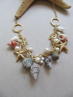 Golden sea statement necklace summer fashion by selenedream