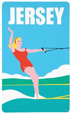 Jersey Ski Girl by Matt Falle  gouache/acrylic on board