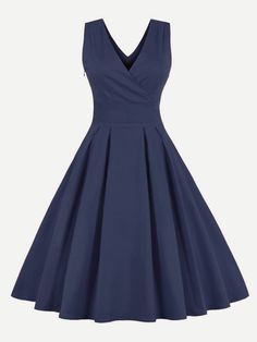 Sleeveless Dresses. Long A Line Decorated with Flared, Zipper. Designed with Deep V Neck. High Waist. Perfect choice for Vintage wear. Plain design. Trend of Summer-2018. Designed in Navy. Fabric has some stretch.