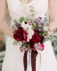 Love this. Burgundy peonies with naked seed eucalyptus, astrantia, astilbe and tulips. #bouquet