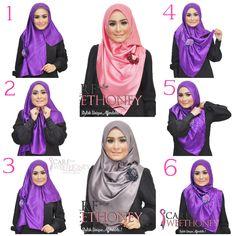 Cara Pakai Hijab Shawl With Hijab Tutorial Simple Hijab Tutorial, Hijab Simple, Hijab Style Tutorial, Islamic Fashion, Muslim Fashion, Hijab Mode Inspiration, Beau Hijab, Habits Musulmans, Leopard Fashion