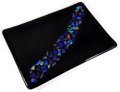 Fused Art Glass Plate, Black with Purple Blue Dichroic Glass Accents, 5 x 7 inches