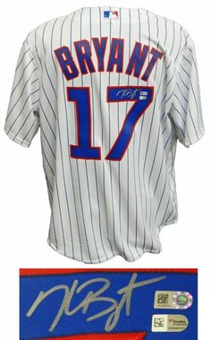60c15a74cc6baf Kris Bryant Signed Chicago Cubs White Pinstripe Majestic Jersey - MLB COA