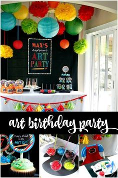 Get creative with a boy's birthday party idea like this Picasso-inspired art themed birthday party, designed and styled by mom and party planner Misha Perritt, of A Lovely Design. The theme was a natural choice for celebrating her art-loving son, Max. Grab your sketch book to... #art #birthday #boy