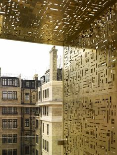 THE #GOLD #FACADE OF 10 #Weymouth Street, #London #interior #design - see also http://www.architectureweek.com/2011/0427/design_2-1.html