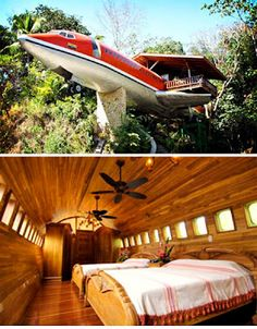 727 Airplane at the Costa Verde Resort, Costa Rica - It's a resort in an airplane! Not to mention seeing monkeys, sloths, & toucans fly past your window! Unique Vacations, Dream Vacations, Unusual Hotels, Wonderful Places, Amazing Places, Honeymoon Spots, Unique Buildings, Hotel Interiors, Beach Hotels