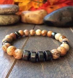 8 mm obsidienne Bois Bracelet Tibet argent hommes Gemstone Reiki Bead Healing Unisexe