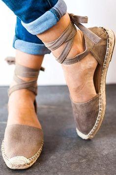 Women's Espadrilles Tie Up Flat Sandals Lace Up Espadrilles Flats, Lace Up Sandals, Flat Sandals, Wedge Shoes, Shoes Sandals, Cute Shoes Flats, Dressy Shoes, Sandals Platform, Ankle Strap Flats