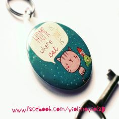 Round illustrated keychain home is where... from violinoviola by DaWanda.com