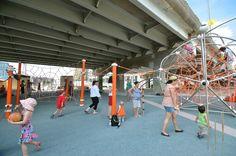 Cool Playgrounds, Under Bridge, Landscape And Urbanism, Urban Park, Bridge Design, Union Square, Waterfront Homes, Urban Planning, Urban Design