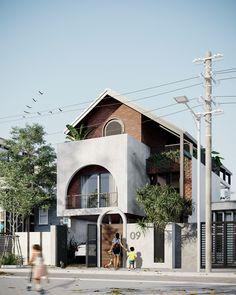 QT HOUSE on Behance Minimal House Design, Duplex House Design, House Front Design, Villa Design, Facade Design, Exterior Design, Village House Design, Kerala House Design, Village Houses