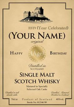 Birthday whiskey bottle label