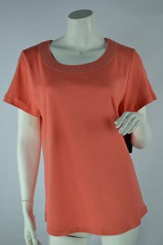 Karen Scott Embellished Scoop Neck Knit Top Short Sleeve Shirt Coral Passion L #KarenScott #KnitTop #Casual
