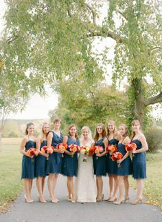 pretty mix of navy bridesmaid dresses | Abby Jiu #wedding
