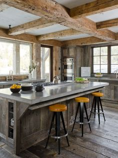 reclaimed floors and island