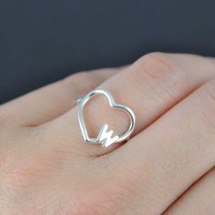Heart ring personalized bridesmaid gift initial by JubileJewel
