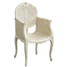 Chateau White Painted French Chair with Rattan