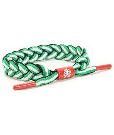 Accessorize your outfits just in time for St. Patty's day with the Rastaclat St. Patty bracelet. Avoid getting pinched with the rad green, white, and black braided shoelace with orange metal logo tips and an orange metal Rastaclat logo adjustable sizing b