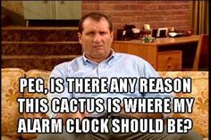 Peg, is there any reason this cactus is where my alarm clock should be? – Al bundy in Married with Children