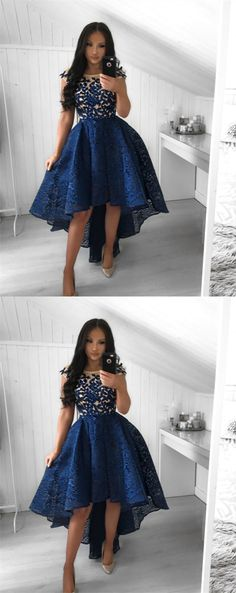 simple dark blue high low graduation party dress with appliques , a line lace short prom dresses for teens, homecoming gowns #prom #dresses