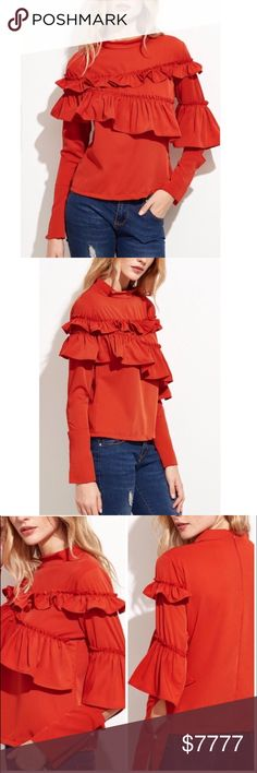 "....ORANGE SLIT SLEEVE RUFFLE TOP Really cute and stylish top this season and next. Beautiful orange band collar with layers of cascading ruffles on the sleeves and body of the top. The long sleeves are slit with a button closure. Pairs great with a slender bottom. Or high waisted items. Polyester. Bust 35.5"" Length 21"" Sleeve 22.5"" Shoulder 14"". -No trades. 51Twenty Tops"