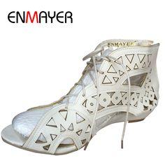 13.36 48% de réduction ENMAYER Grande Taille 34 43 Mode découpes Lacent  Sandales À Bout Ouvert Bas Coins Bohème D été Chaussures plage Chaussures  Femme ... 61e7b6bb8c92