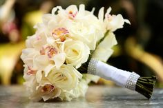 White Orchid and Rose Bouquet