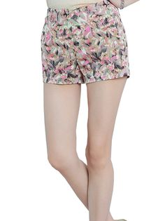Sweet Floral Printed Fashionable Leisure Slim High Waist Short Casual Pants on buytrends.com