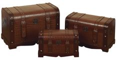 Wood Trunks with Buckles - very traditional. Need storage ideas?