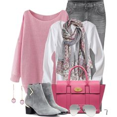 Fall Pink & Grey by brendariley-1 on Polyvore featuring 7 For All Mankind, Nicholas Kirkwood, Mulberry and Ray-Ban