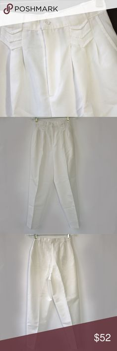 VINTAGE Uniform Nurse Scrub Pants -Brand New Cond Wow, they do not make pants like this anymore!  ADORABLE fold and pleat detailing on the front belt loops. Highwaisted with a button and zip closure.  MADE IN THE USA from PEACHES Uniforms Inc. These pants would look so cute in spring with a crop top. Roll up the bottoms for a vintage high-water look. Labeled a vintage size 10, would fit a modern size 6.  Picture these Cotton Blend business babies with a sporty tennis shoe or a statement high…