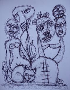 pjOtt (mercury) automatic drawing, primitive surrealism, outsider art