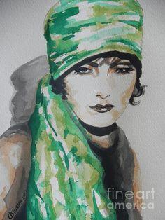 "Watercolor on paper, ""Greta Garbo,"" by Chrisann Ellis, Fine Art America."